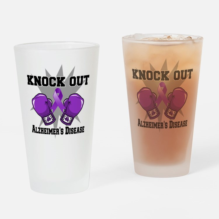 Knock Out Alzheimers Drinking Glass