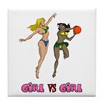 Girl VS Girl Basketball Tile Coaster
