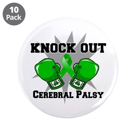 """Knock Out Cerebral Palsy 3.5"""" Button (10 pack)"""
