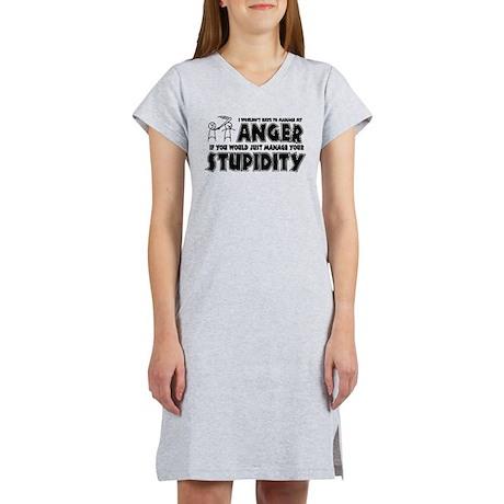Anger vs. Stupidity Women's Nightshirt