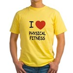 I heart physical fitness Yellow T-Shirt
