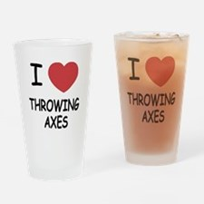 I heart throwing axes Drinking Glass
