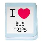 I heart bus trips baby blanket
