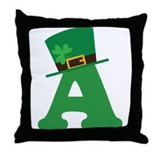 St. Patrick's Day Letter A Throw Pillow