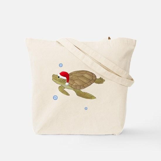Santa - Christmas Turtle Tote Bag