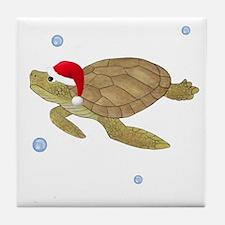 Santa - Christmas Turtle Tile Coaster