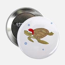 """Santa - Christmas Turtle 2.25"""" Button"""
