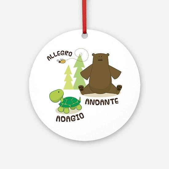 Allegro Andante Music Quote Ornament (Round)
