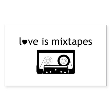 Love is Mix Tapes Rectangle Sticker