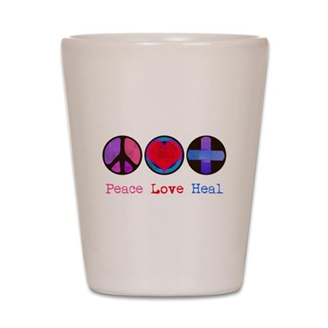 Peace Love Heal Shot Glass