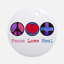 Peace Love Heal Ornament (Round)