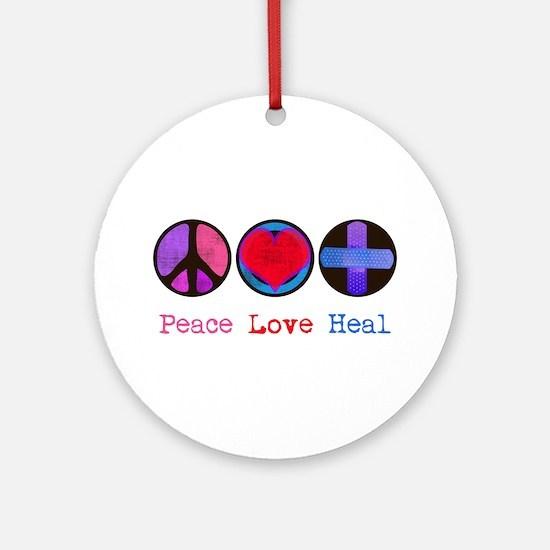 Peace Love Heal Ornament (Round)