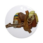 Old Western Saddle Ornament (Round)
