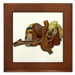 Old Western Saddle Framed Tile