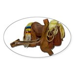 Old Western Saddle Sticker (Oval 50 pk)