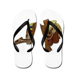 Old Western Saddle Flip Flops