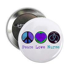 """Peace Love Nurse 2.25"""" Button"""