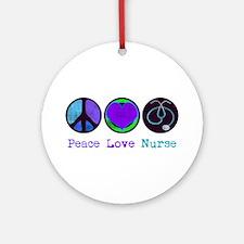 Peace Love Nurse Ornament (Round)