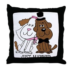 Newlywed Dogs Throw Pillow