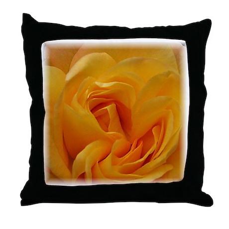 Yellow Rose Closeup Throw Pillow