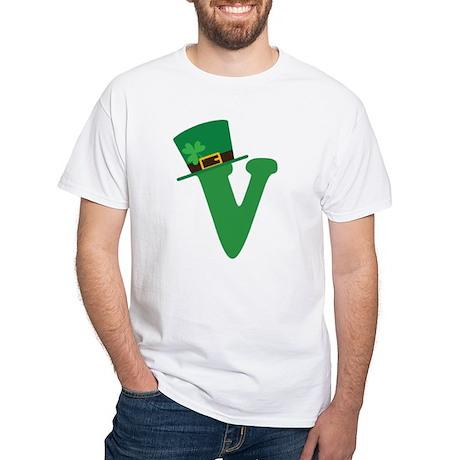 St. Patrick's Day Letter V White T-Shirt
