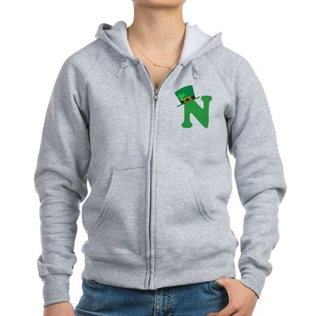 St. Patrick's Day Letter N Women's Zip Hoodie