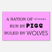 Sheep, Pigs, Wolves Rectangle Decal