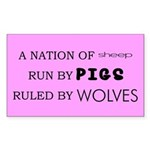 Sheep, Pigs, Wolves Rectangle Sticker