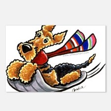 Airedale Terrier Sledding Postcards (Package of 8)
