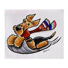 Airedale Terrier Sledding Throw Blanket