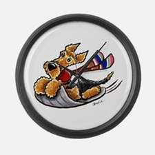Airedale Terrier Sledding Large Wall Clock