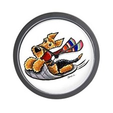 Airedale Terrier Sledding Wall Clock