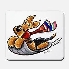 Airedale Terrier Sledding Mousepad