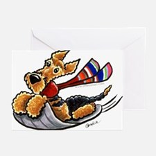 Airedale Terrier Sledding Greeting Cards (Pk of 20