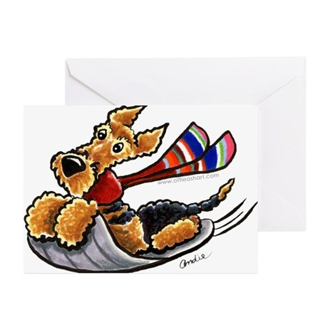 Airedale Terrier Sledding Greeting Cards (Pk of 10