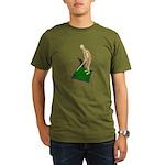 Using Hoe on Grass Organic Men's T-Shirt (dark)