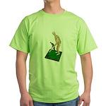 Using Hoe on Grass Green T-Shirt