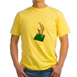 Using Hoe on Grass Yellow T-Shirt