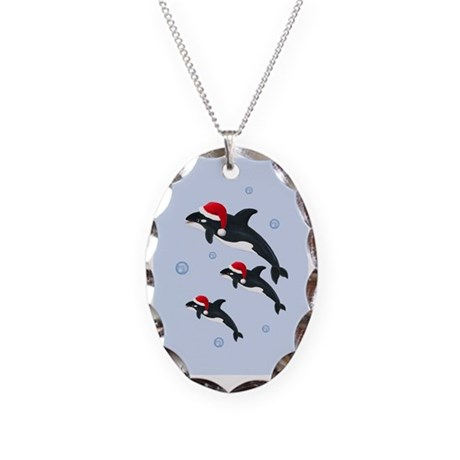 Killer Whale - Christmas Necklace Oval Charm