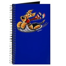 Airedale Terrier Sledding Blue Journal