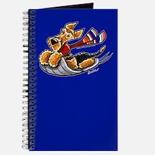 Airedale Terrier Sledding Blue Journal