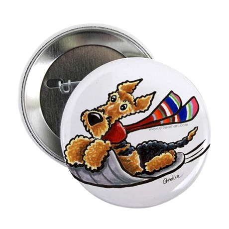 """Airedale Terrier Sledding 2.25"""" Button (100 pack)"""