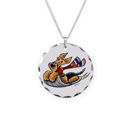 Airedale Terrier Sledding Necklace Circle Charm