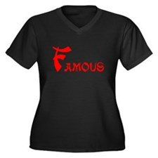 Famous Women's Plus Size V-Neck Dark T-Shirt