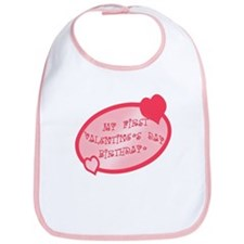 First Valentine Birthday PINK Bib