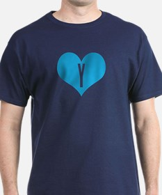 Heart Y letter - Love T-Shirt