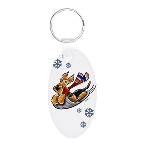 Airedale Terrier Sledding Aluminum Oval Keychain