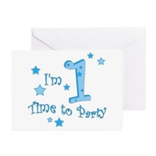 First / 1st birthday baby boy Greeting Cards (Pack