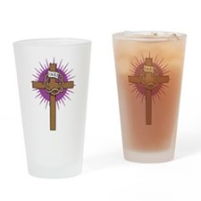 Cute Cross and crown Drinking Glass