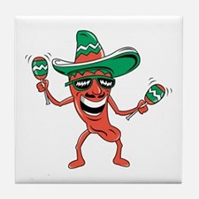 Funny Red hot chili peppers Tile Coaster